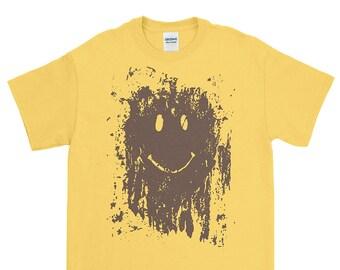 Mud Splatter Smiley Face - Gildan T-shirt S-XXXL Funny, Forest Gump, Movie, Classic, Marathon, Run, Cool Gift!