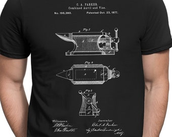 e9bb4cd0 Anvil 1877 Patent T-shirt S-XXL, Blacksmith, Craft, Crafts, Tools, Artist,  Craftsman, Vintage, Blueprint, Cool Gift!