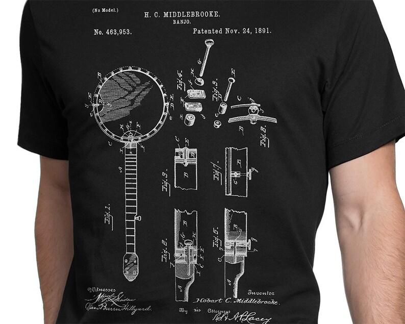 8fefcf9a Banjo Patent T-shirt S-XXL Men/Women Music Instrument | Etsy