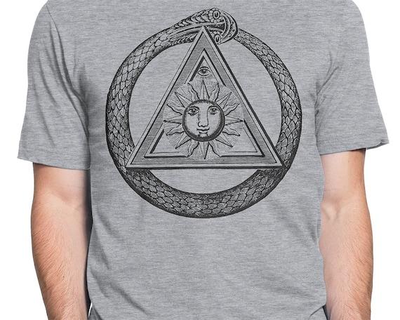 Ouroboros Schlange Dreieck T shirt S XXL Freimaurer, Freimaurer, Illuminati, Verschwörung, Symbol, Cool