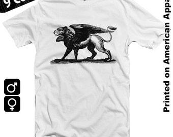 Gryphon American Apparel Men/Women T-shirt S-XXL Griffin, Ancient Mythology, Creature, Symbol, Antique Engraving, Cool Gift