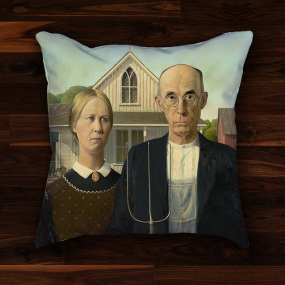 American Gothic Pillow Cover Grant Wood Painting Classic Etsy