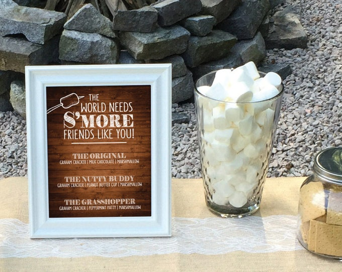 """S'more Menu, The World Needs S'more Friends Like You Smore Menu, Smores, Smore Bar, 8x10"""" Rustic Wood Style Printable Instant Download Sign"""