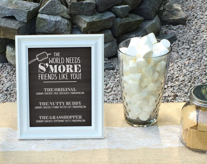 "S'more Menu, The World Needs S'more Friends Like You Smore Menu, Smores, Smore Bar, 8x10"" Chalkboard Style Printable Instant Download"