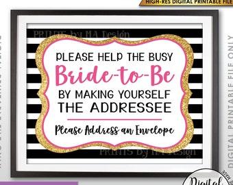 "Bridal Shower Address an Envelope Sign, Help the Bride, Be the Addressee, Black Pink & Gold Glitter PRINTABLE 8x10"" Bridal Shower Sign <ID>"