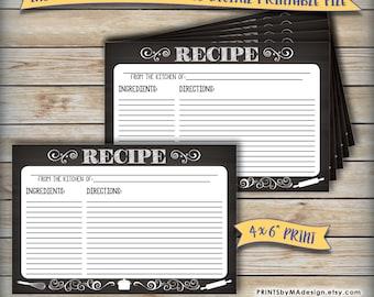 "Recipe Card, Printable Chalkboard Design, Wedding Shower Bridal Shower Recipe Card, Write Your Recipe,  4x6"" Digital Print Instant Download"