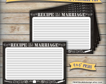 """Recipe for a Happy Marriage Advice Card, Printable Chalkboard Design, Wedding Bridal Shower, 4x6"""" Digital Print Instant Download"""