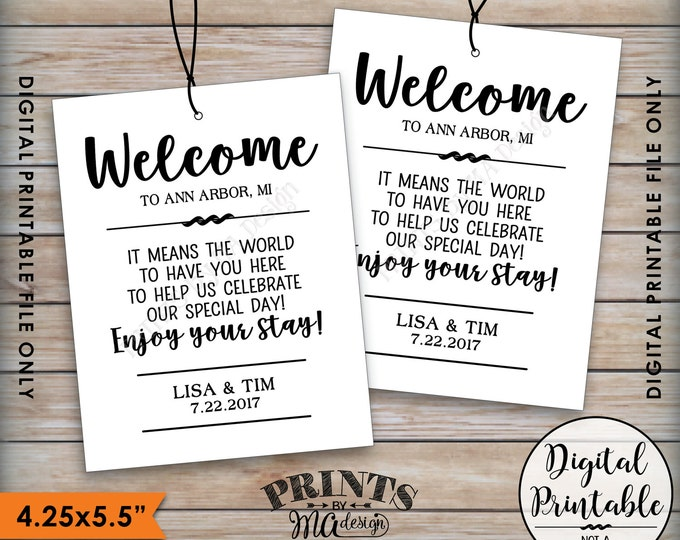 """Wedding Welcome Tags, Hotel Bag Tags, Out of Town Guests, Destination Wedding Tags Thank You Tags, 4.25x5.5"""" PRINTABLE Tags on 8.5x11"""" Sheet"""