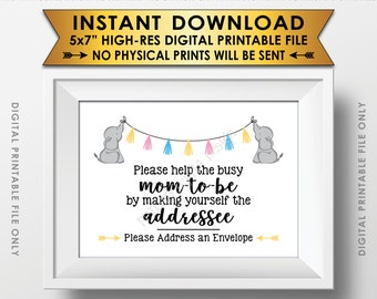 "Address an Envelope Sign, Elephant Baby Shower Help the Busy Mom-to-Be Sign, Neutral Baby Shower Decor, PRINTABLE 5x7"" Baby Shower Sign <ID>"