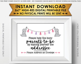 """Address an Envelope Sign, Elephant Baby Shower Help the Busy Parents-to-Be, Pink Baby Shower Decor, PRINTABLE 5x7"""" Baby Shower Sign <ID>"""