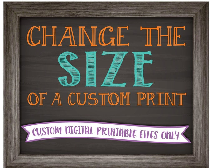 Change the size of a CUSTOM print in my shop to fit your needs >>>Read the Item Details Section for full info PRIOR to purchase!