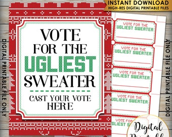 "Ugly Christmas Sweater Voting Sign and Ballots Ugly Sweater Party Christmas Party, PRINTABLE 8.5x11"" sign & 3.5x2"" ballots, Instant Download"