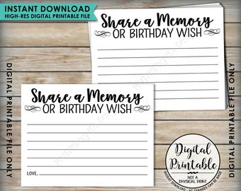 "Birthday Share a Memory Card, Share Memories or a Birthday Wish, Write a Memory, B-day Party Activity, PRINTABLE 8.5x11"" Digital File <ID>"