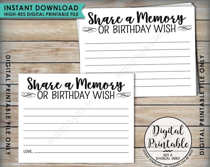 """Birthday Share a Memory Card, Share Memories or a Birthday Wish, Write a Memory, B-day Party Activity, PRINTABLE 8.5x11"""" Digital File <ID>"""