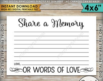 """Share a Memory Card, Share Memories, Write a Memory, Please Leave a Memory, Memorial Card, Graduation, 4x6"""" Printable Instant Download"""