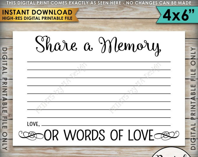 "Share a Memory Card, Share Memories, Write a Memory, Please Leave a Memory, Memorial Card, Graduation, 4x6"" Printable Instant Download"
