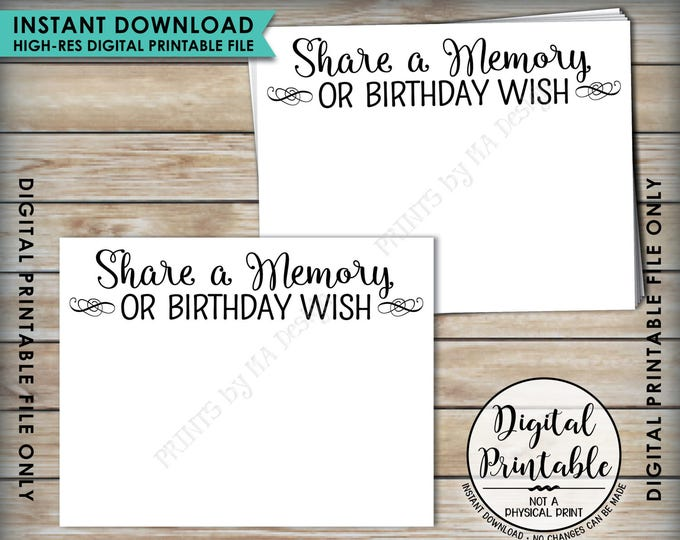 """Share a Memory Card, Share Memories or a Birthday Wish, Write a Memory, Birthday Party Activity, Birthday 8.5x11"""" Printable Instant Download"""