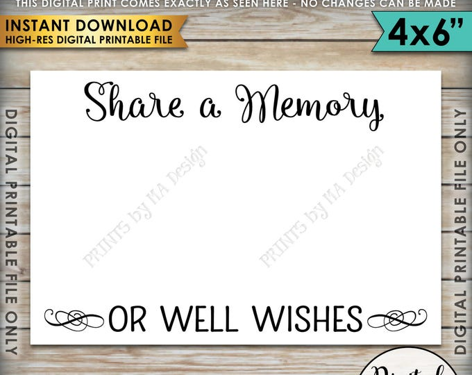 """Share a Memory Card, Share a Memory or Well Wishes Card, Retirement, Graduation, Going Away Party, Birthday, 4x6"""" Printable Instant Download"""