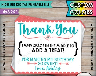 """Thank You Treat Card, Custom Birthday Favor Cards, Space in the middle to add a treat, Birthday Party Favors, 8.5 x 11"""" Printable Sheet"""
