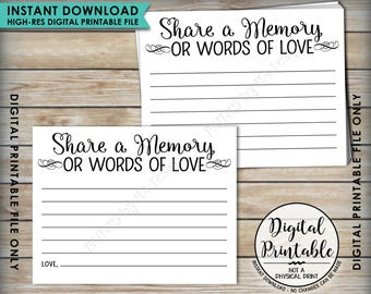 "Share a Memory Card, Memory or Words of Love, Share Memories Memorial Card, Retirement, Graduation, Four cards per 8.5x11"" PRINTABLE Sheet"