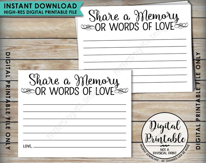 """Share a Memory Card, Memory or Words of Love, Share Memories Memorial Card, Retirement, Graduation, Four cards per 8.5x11"""" PRINTABLE Sheet"""