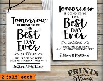"""Wedding Tags, Tomorrow is Going to be the Best Day Ever Rehearsal Dinner Tags, Wedding Rehearsal Gift Tags, 2.5x3.5"""", PRINTABLE 8.5x11"""" File"""