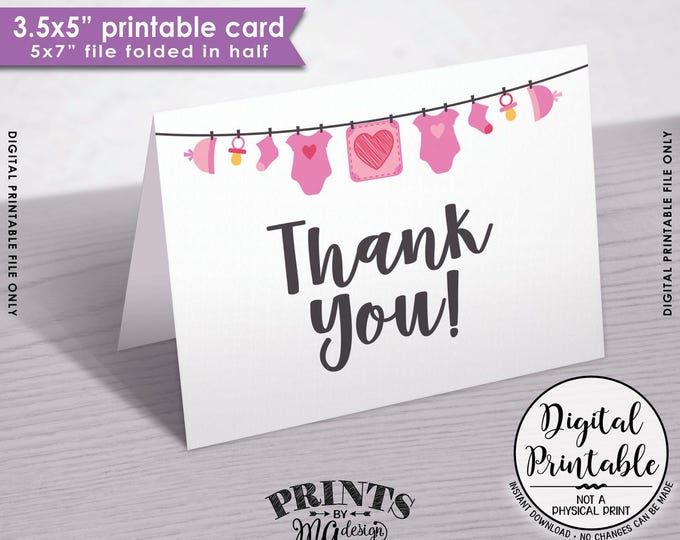 "Baby Shower Thank You Cards, Printable Thank Yous, Pink Baby Thank You Cards, Thanks, 3.5x5"" folded card, 5x7"" Printable Instant Download"