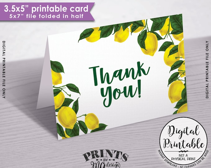 "Lemon Thank You Card, Lemon Themed Tuscan Garden Party, Tropical Summer Lemons, Italy, 3.5x5"" folded card, 5x7"" Printable Instant Download"