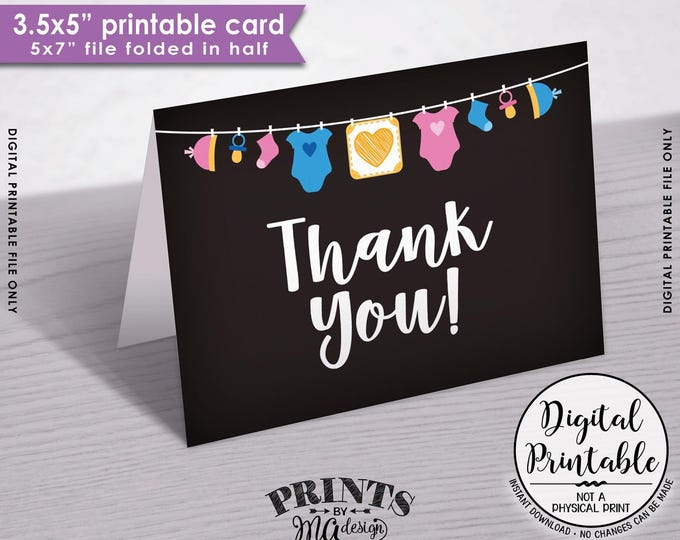 "Baby Shower Thank You Cards, Gender Neutral Baby Thank You Cards, Printable Thank Yous, 3.5x5"" folded card, 5x7"" Printable Instant Download"