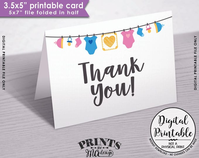 "Baby Shower Thank You Cards, Gender Neutral Baby Thank You Cards, 3.5x5"" folded card, Printable Thank Yous, 5x7"" Printable Instant Download"