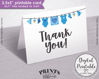 "Baby Shower Thank You Cards, Printable Thank Yous, Blue Baby Thank You Cards, Thanks, 3.5x5"" folded card, PRINTABLE 5x7"" Card <ID>"