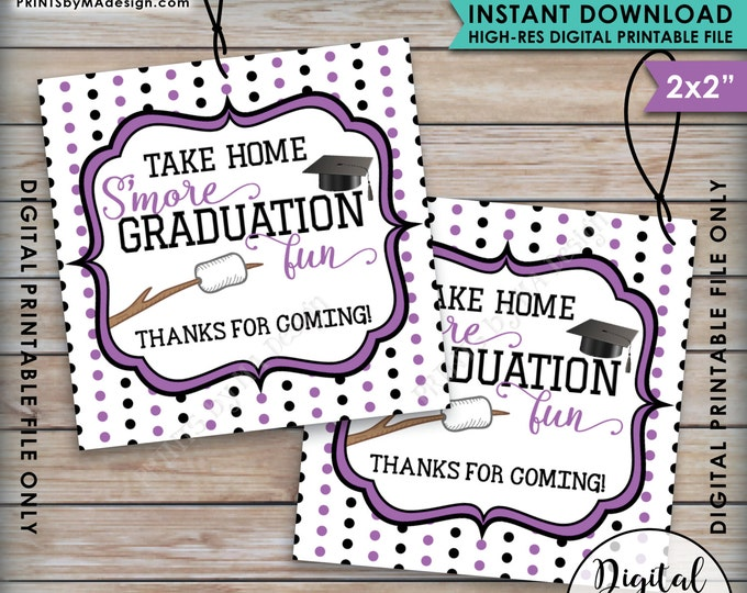 S'more Fun Tags, S'more Graduation Fun Tags, Graduation Thank You Tags, Graduation Party Favor Grad Tag, Purple Instant Download Printable
