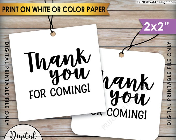"Thank You Tags, Thank You for Coming Tags, Wedding Tags, Birthday Party, Graduation Party, 2x2"" tags on 8.5x11"" Printable Instant Download"