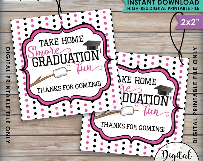 S'more Fun Tags, S'more Graduation Fun Tags, Graduation Thank You Tags, Graduation Party Favor Grad Tag, Pink Instant Download Printable
