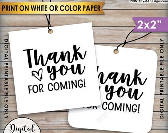 "Thank You Tags, Thank You for Coming Tags, Wedding Tags, Birthday Party, Graduation Party, Square 2x2"" tags on 8.5x11"" PRINTABLE Sheet <ID>"