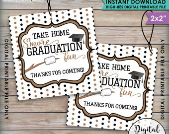 S'more Fun Tags, S'more Graduation Fun Tags, Graduation Thank You Tags, Graduation Party Favor Grad Tag, Brown Instant Download Printable