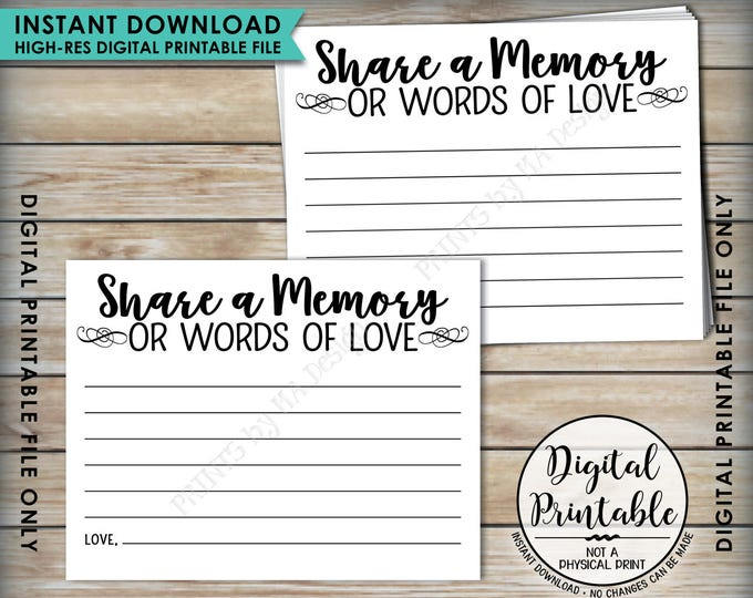 "Share a Memory Card, Share Memories, Write a Memory, Please Leave a Memory, Memorial Card, Graduation, PRINTABLE 8.5x11"" Sheet <ID>"