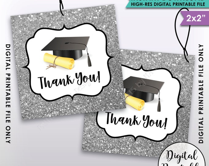 Graduation Tags, Graduation Thank You Tags, Graduation Party Favor, Silver Glitter Thanks from the Grad Tag, Instant Download Printable File