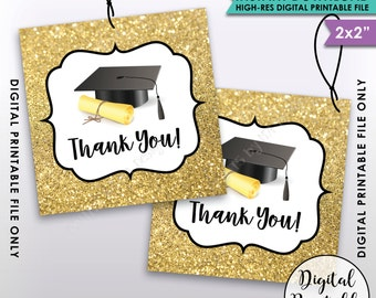 "Graduation Tags, Graduation Thank You Tags, Graduation Party Favors, Gold Glitter Thanks from the Grad 2x2"" Tag, Instant Download Printable"