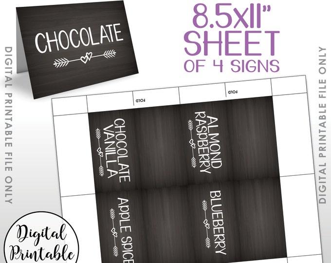 "Cupcake Menu Flavors Signs, Wedding Cupcakes, Cupcake Signs, Display Flavors, Mini Menu, Chalkboard Syle 2x3.5"" on PRINTABLE 8.5x11"" Sheet"