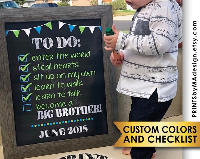 """To Do List Pregnancy Announcement Going to be a Big Brother CUSTOM CHECKLIST, Expecting Baby #2, PRINTABLE 8x10/16x20"""" Chalkboard Style Sign"""