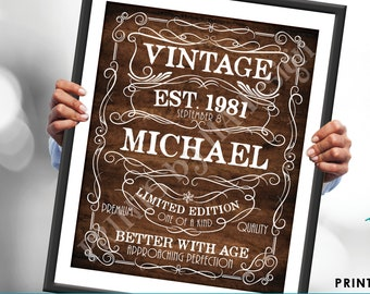 """Editable Vintage Birthday Sign, Better with Age Liquor Themed Party, Custom PRINTABLE Rustic Wood Style 8x10/16x20"""" <Edit Yourself w/Corjl>"""