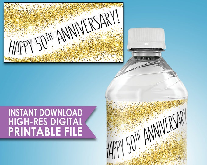 "50th Anniversary Water Bottle Labels Gold Glitter 50th Anniversary Party Decor Five labels per 8.5x11"" Sheet Instant Download PRINTABLE File"