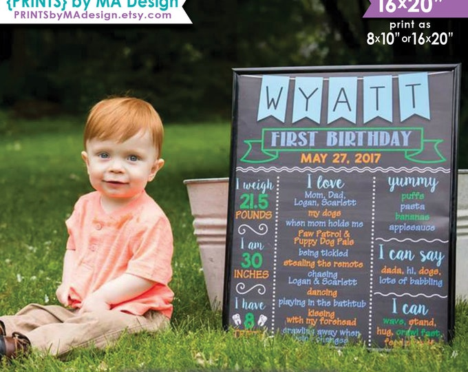 """First Birthday Poster, 1st B-day, Boy's First Birthday Personalized Milestones PRINTABLE Chalkboard Style 8x10/16x20"""" Custom Stats Sign"""