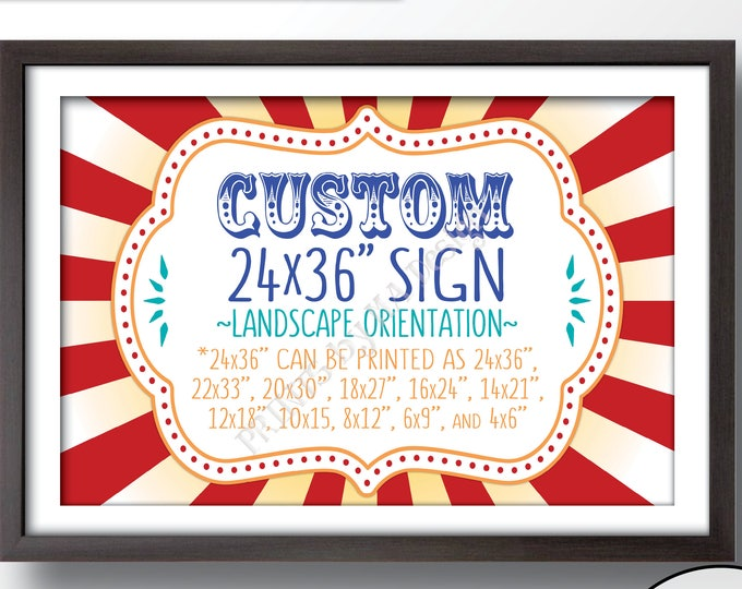 "Custom Carnival Sign, Choose Your Text Carnival Theme Party Sign, Carnival Birthday, Circus Theme, PRINTABLE 24x36"" Landsacpe Carnival Sign"