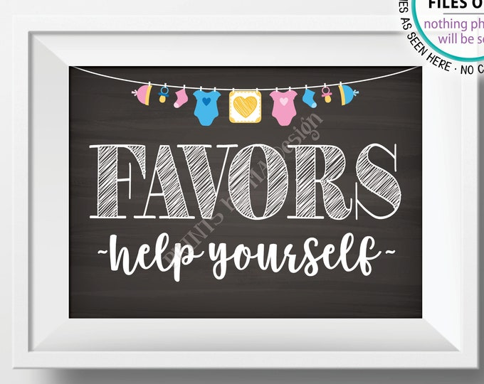 """Favors Sign, Help Yourself Baby Shower Favors, Shower Decorations, Thank You, Neutral Clothesline, PRINTABLE 5x7"""" Chalkboard Style Sign <ID>"""