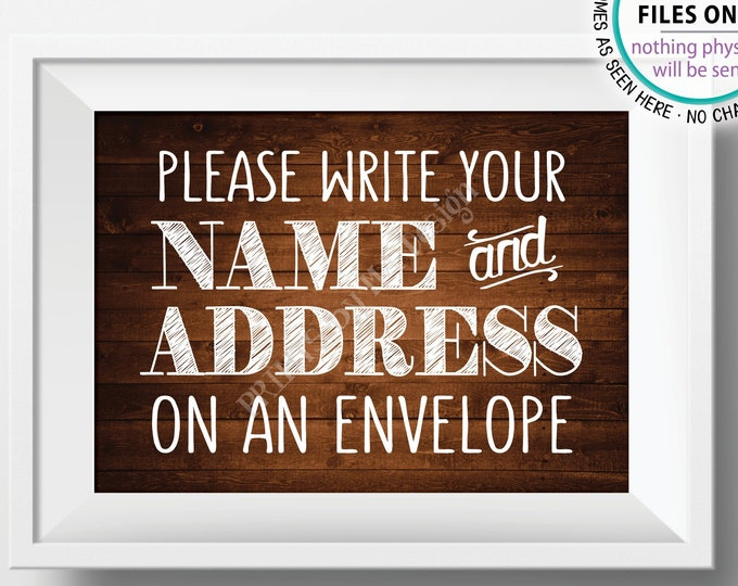 "Address an Envelope Sign, Make Yourself the Addressee, PRINTABLE 5x7"" Rustic Wood Style Sign <ID>"