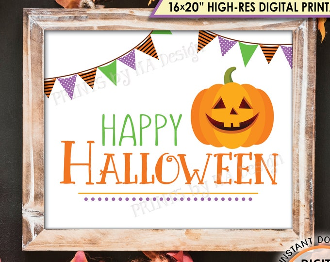 "Happy Halloween Sign, Orange Purple Green Halloween Print, Pumpkin, Jack-O-Lantern, PRINTABLE 8x10/16x20"" Instant Download Sign"