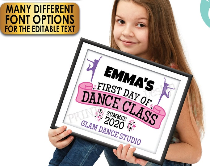 "First Day of Dance Class Sign, Editable 1st Day of Modern Dance, Custom PRINTABLE 8x10/16x20"" Dancing Photo Prop <Edit Yourself w/Corjl>"
