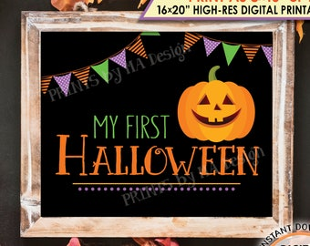 "My First Halloween Sign, Baby's 1st Halloween Photo Prop, Pumpkin, Jack-O-Lantern, PRINTABLE 8x10/16x20"" Instant Download Halloween Print"